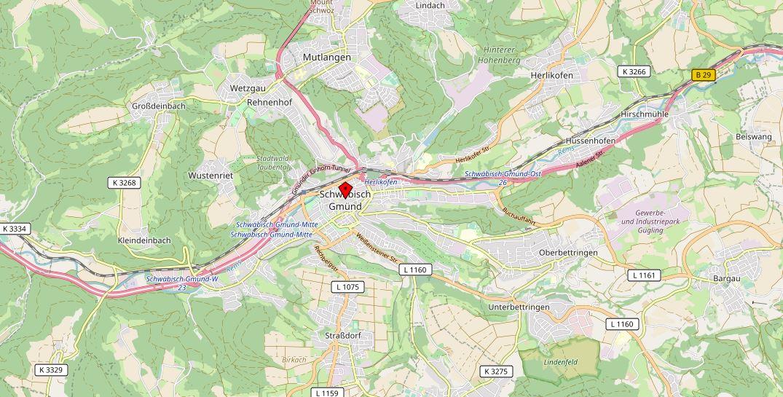 Landkarte Schwäbisch Gmünd Immobiliengutachter rehkugler-buehler.de